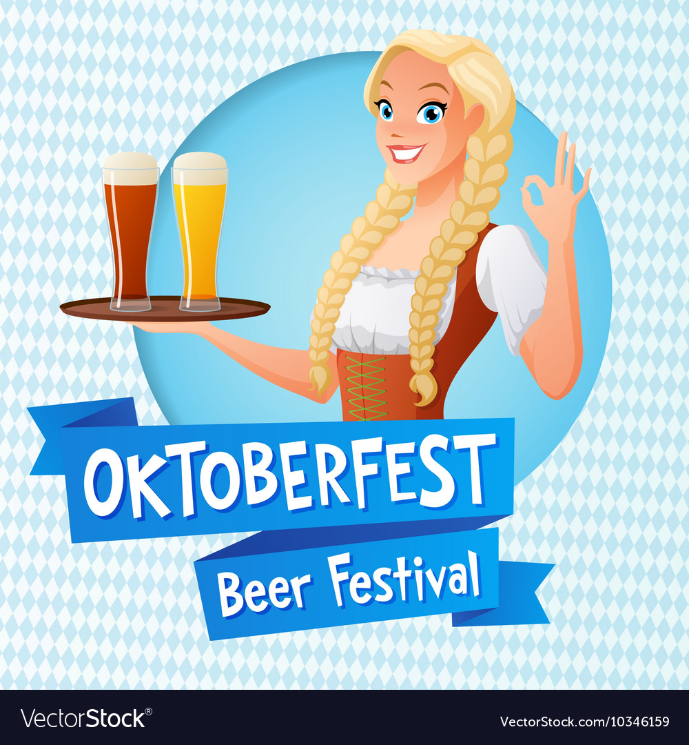 Oktoberfest card cute girl in national vector