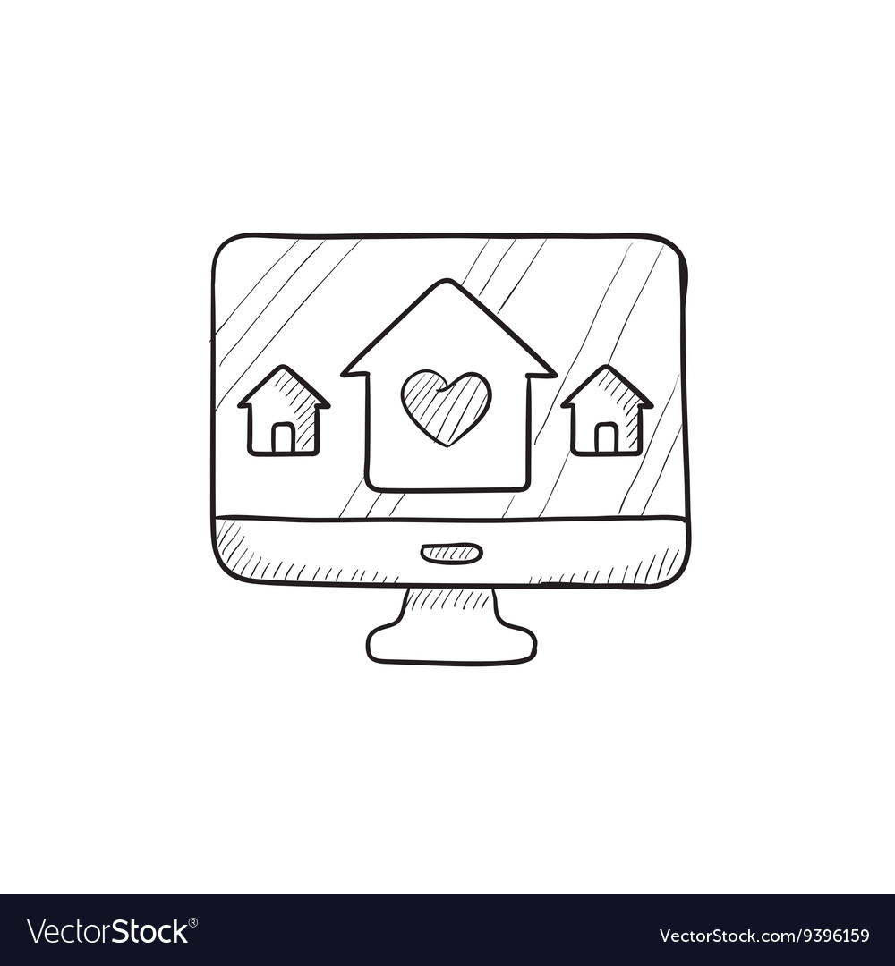Smart house technology sketch icon vector