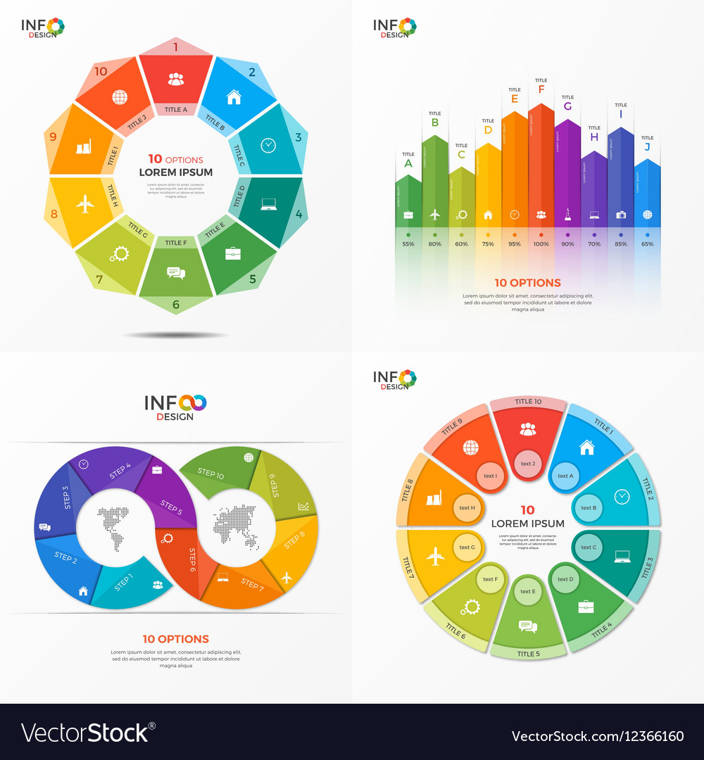Set of infographic templates with 10 options vector