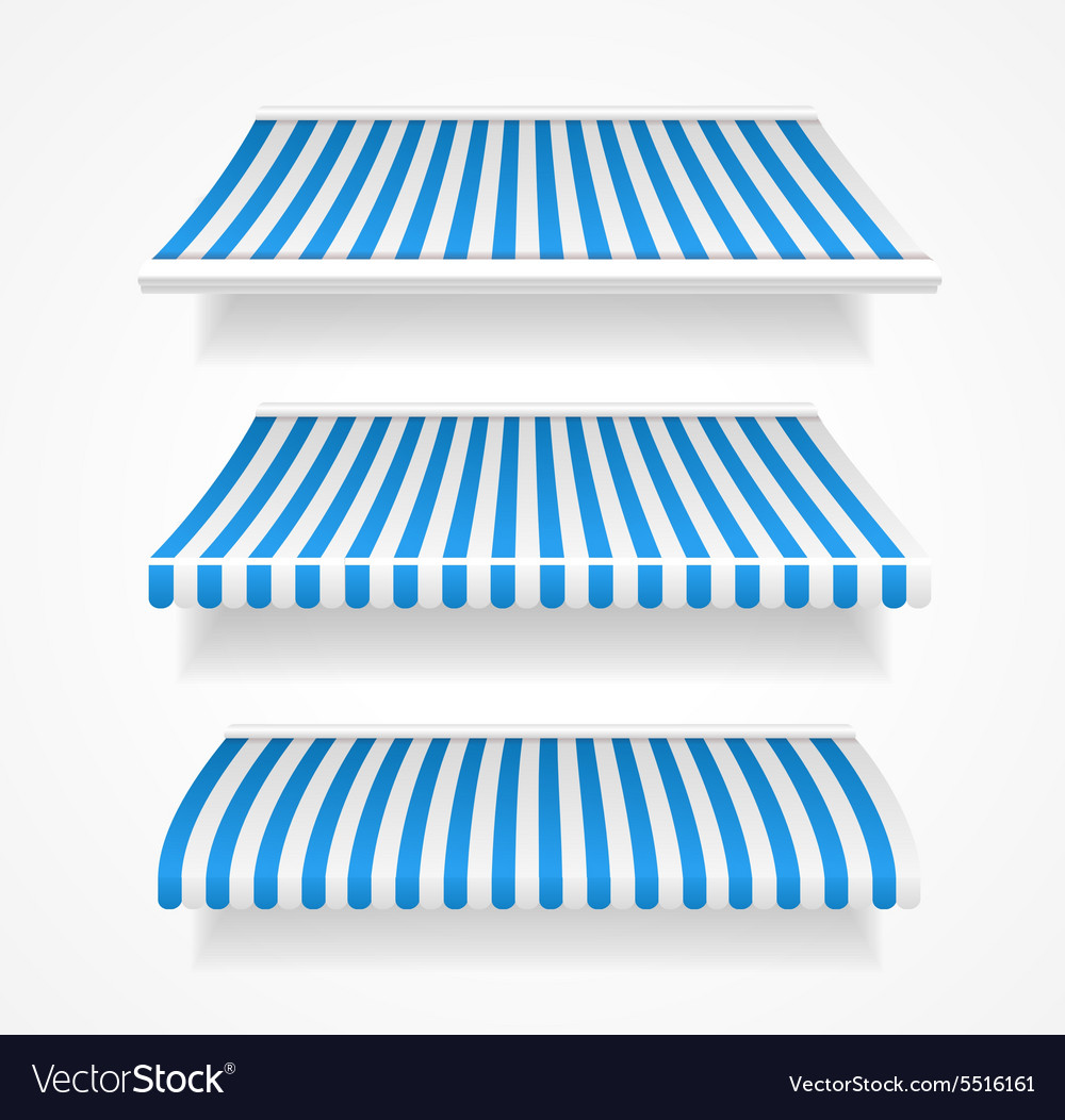 Colorful awnings for shop set blue vector