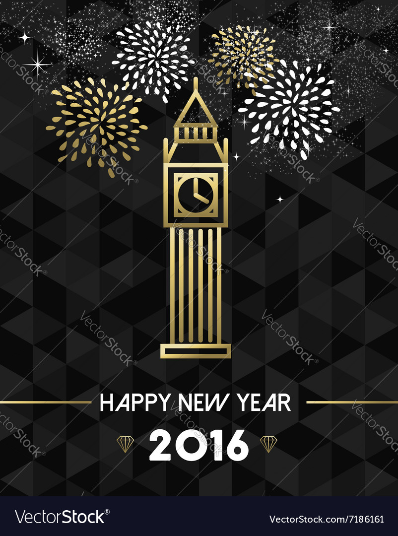 New year 2016 london uk europe travel gold vector