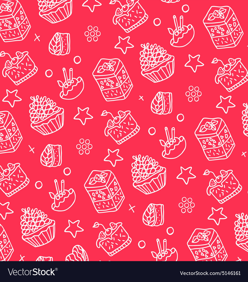 Pattern of white cakes vector