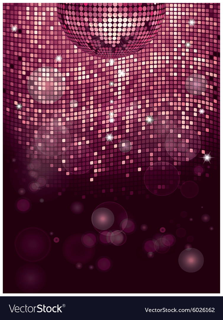 Disco ball pink sparkling background vector