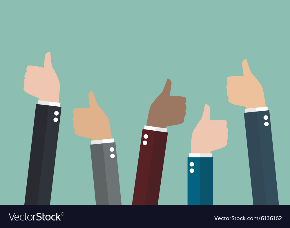Many thumbs up vector