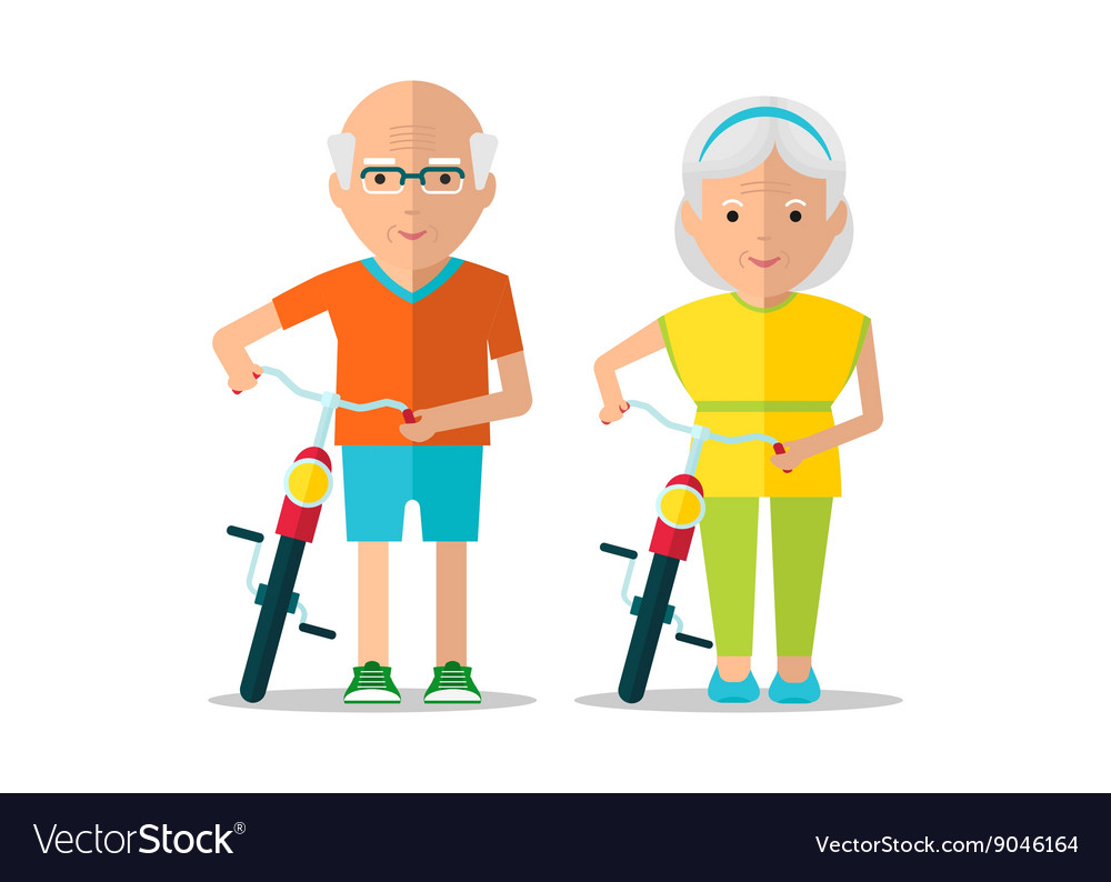 Elderly couple walk with bicycles vector