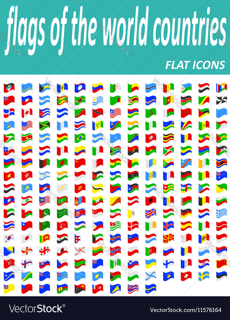 Set icons flags of the world countries flat icons vector