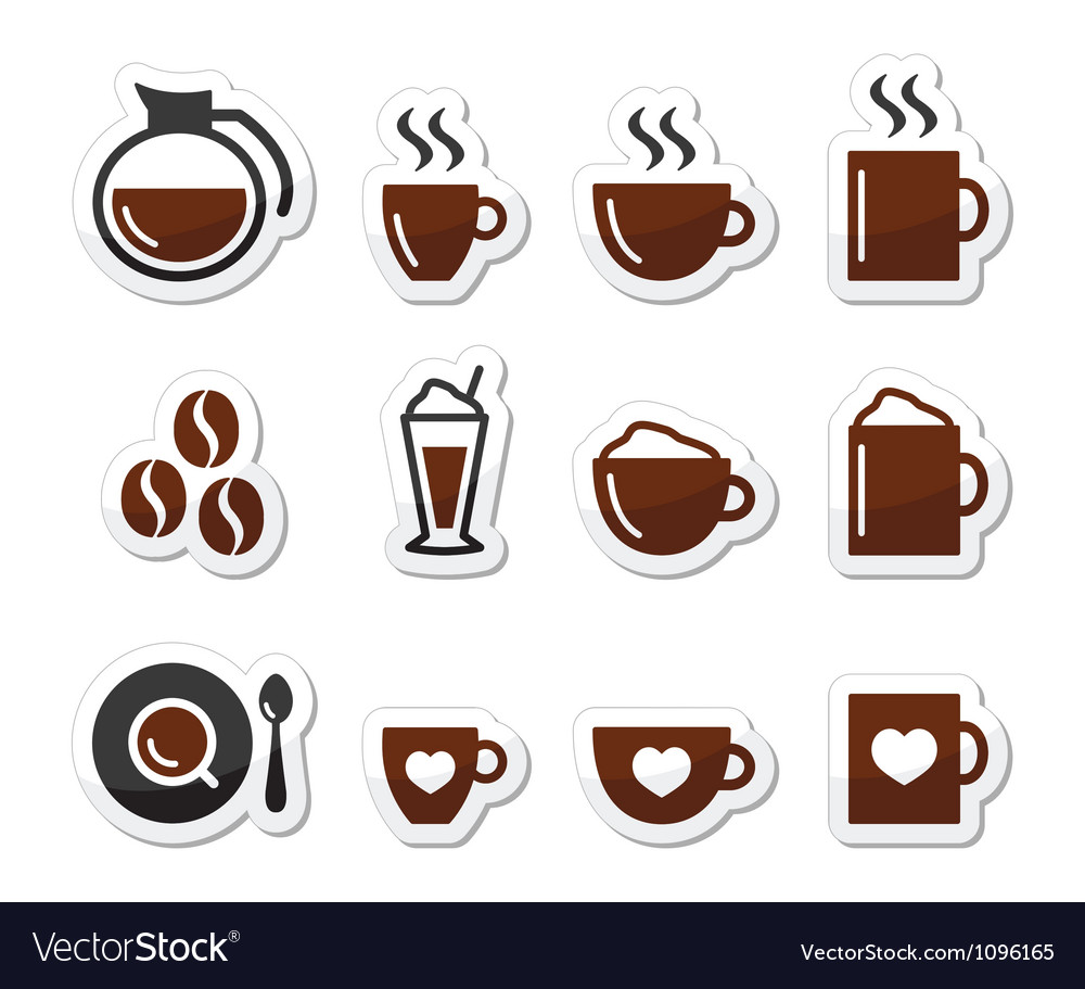 Coffee icons on labels set vector