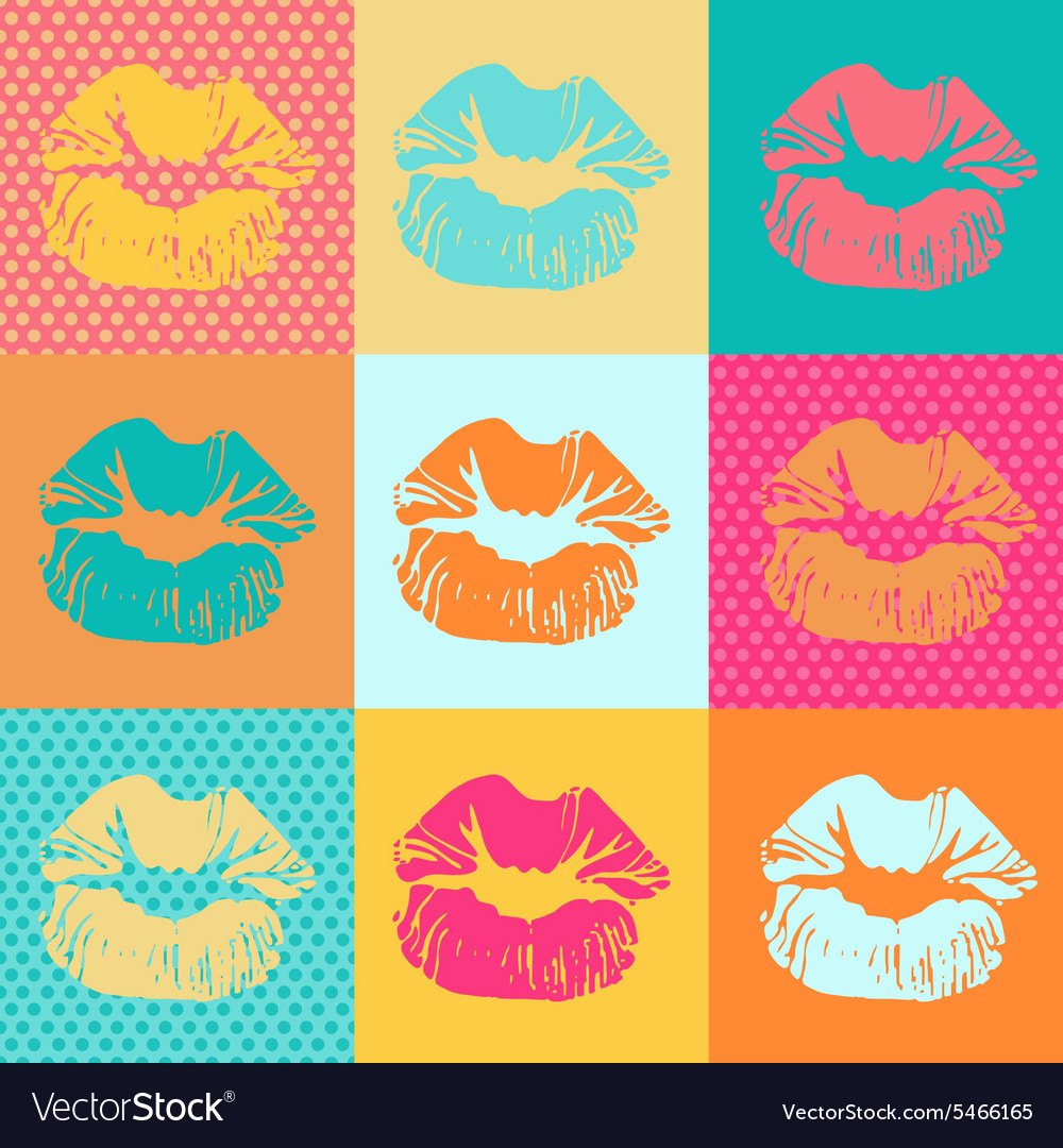 Colorful texture with kisses pop art lips vector