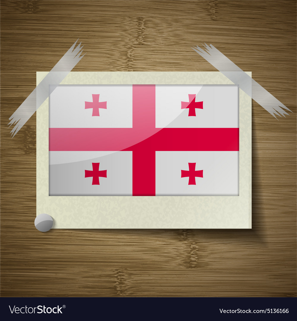 Flags georgia at frame on wooden texture vector