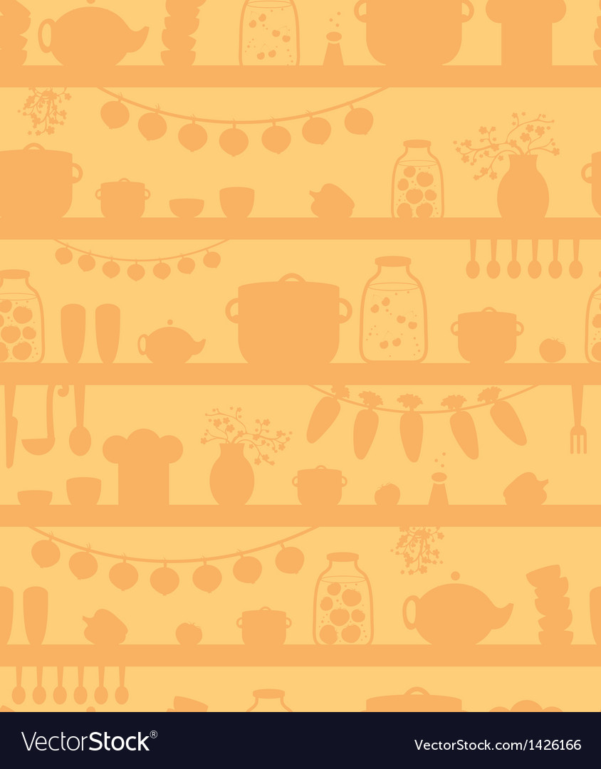 Kitchen pantry shelves seamless pattern background vector