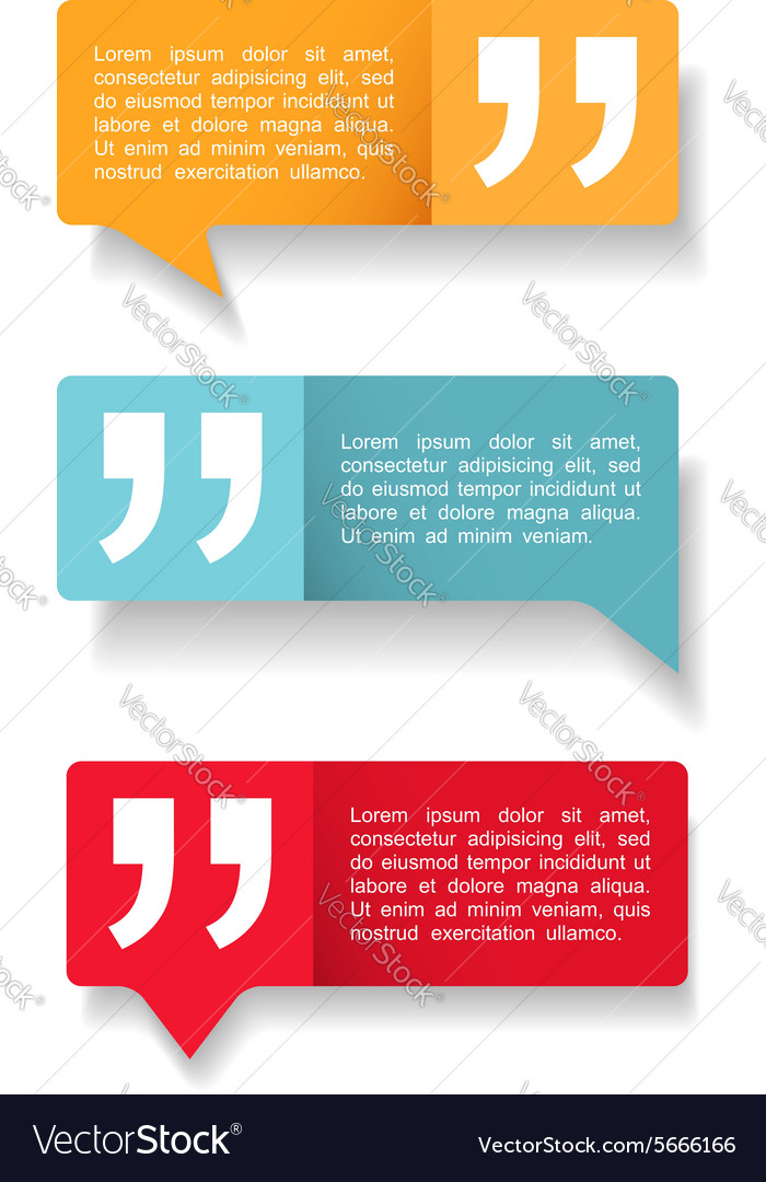 Speech bubbles with quotes vector