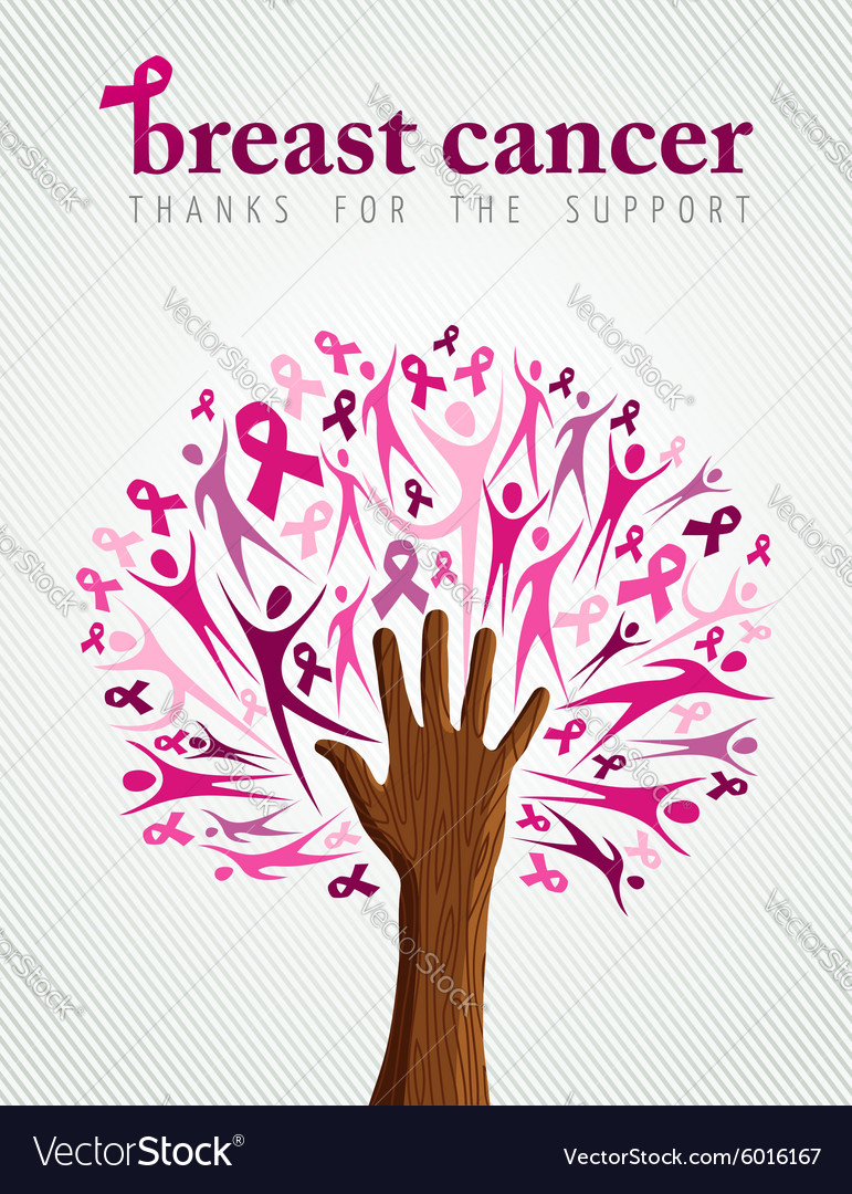 Breast cancer awareness pink ribbon hand tree vector