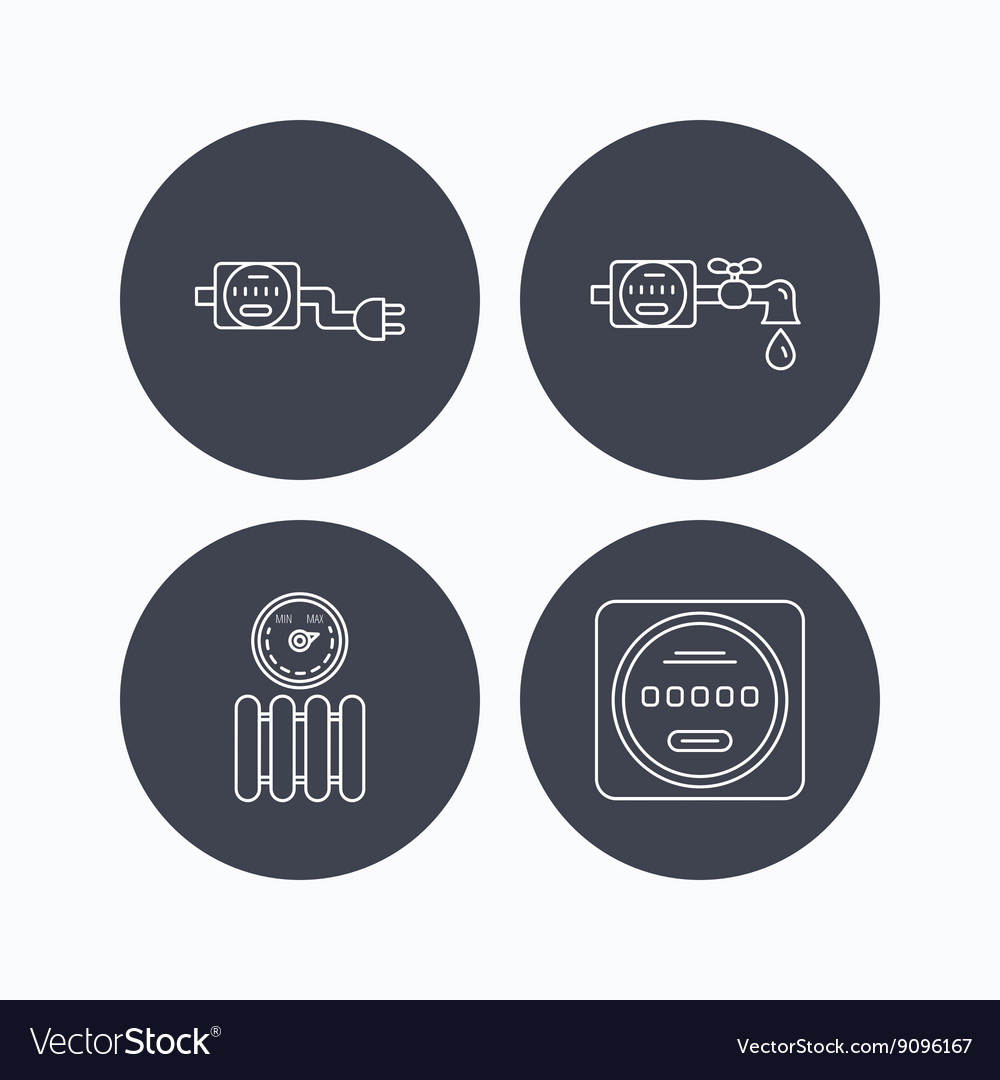 Electricity radiator and water counter icons vector