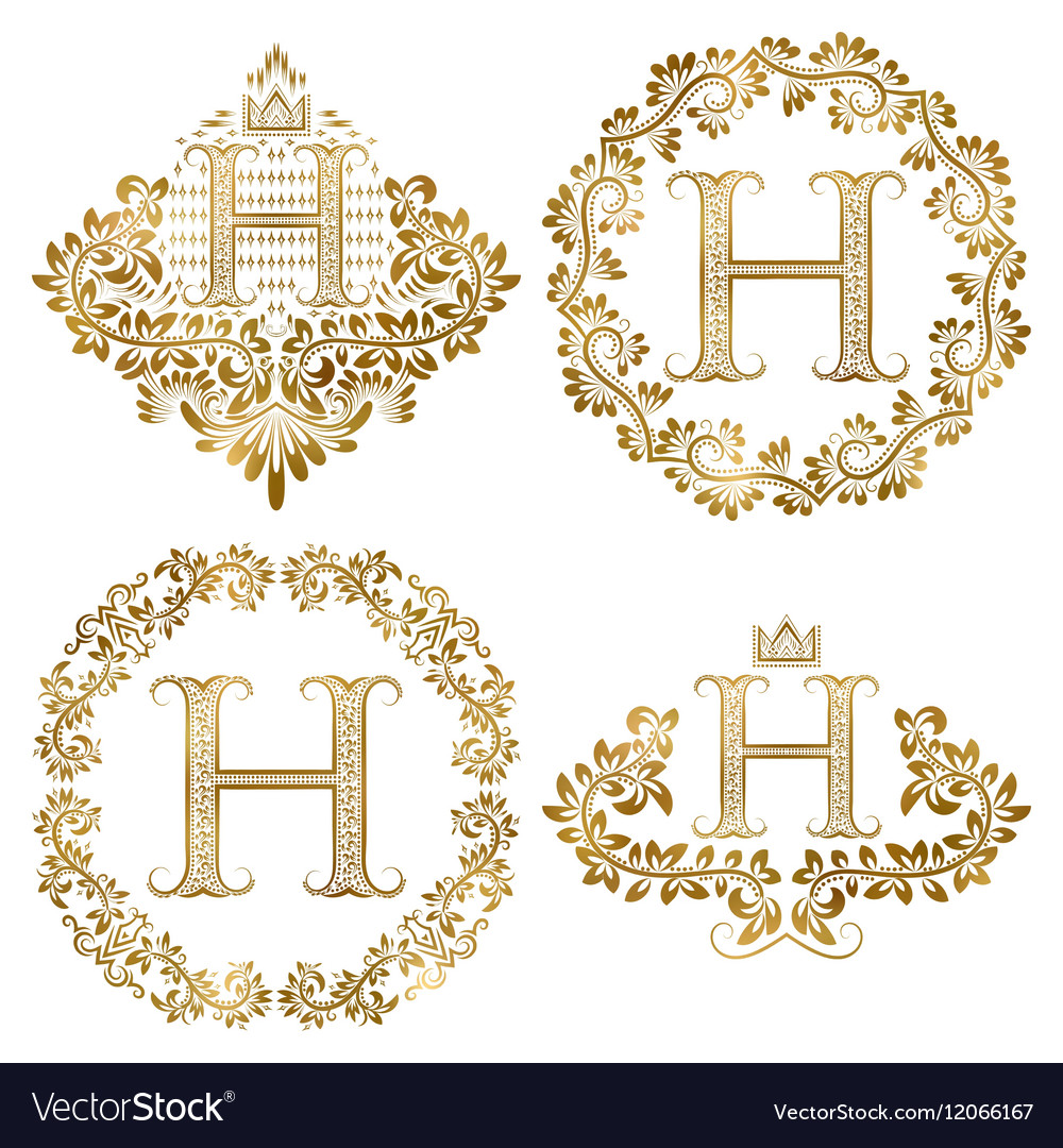 Golden letter h vintage monograms set heraldic vector
