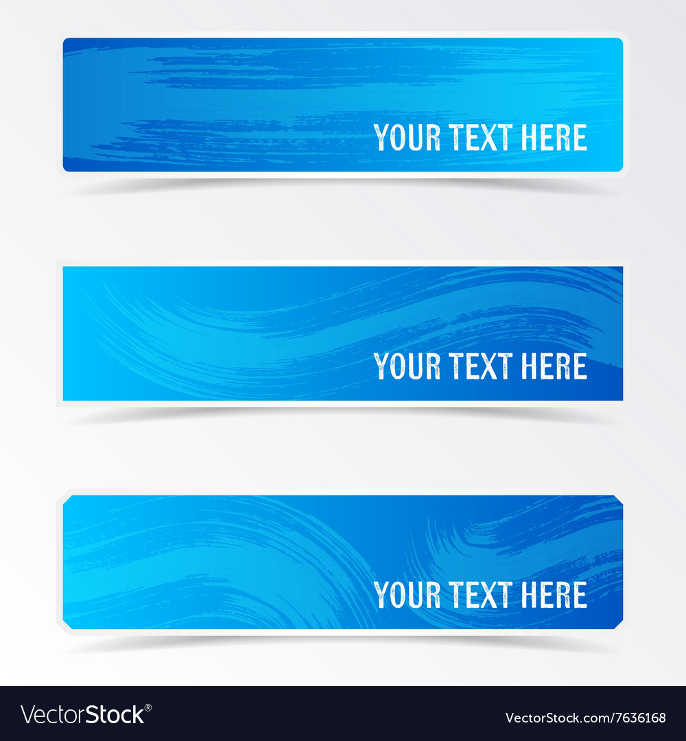Blue banners with brush strokes vector