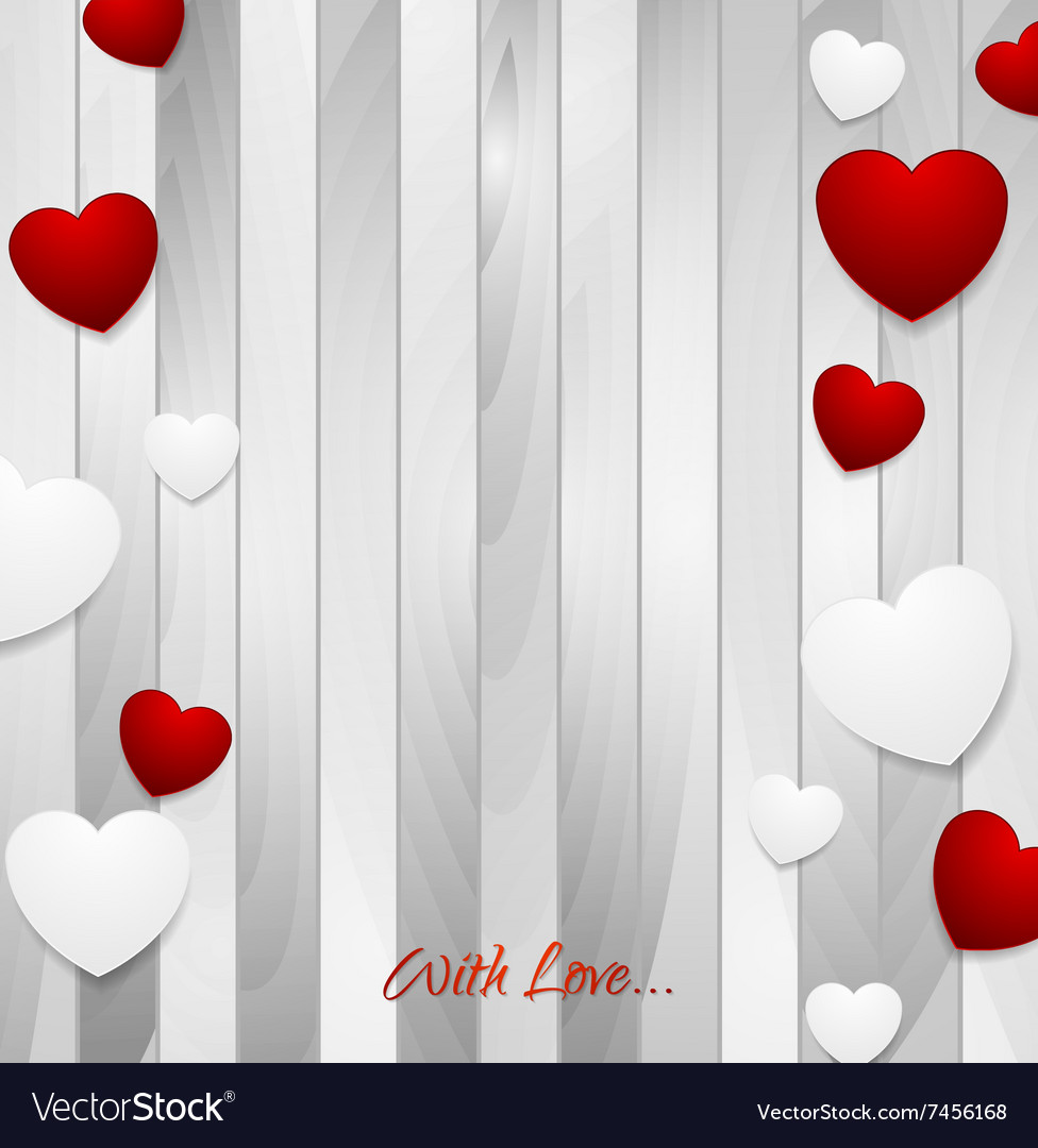 Valentine hearts on light grey wooden texture vector