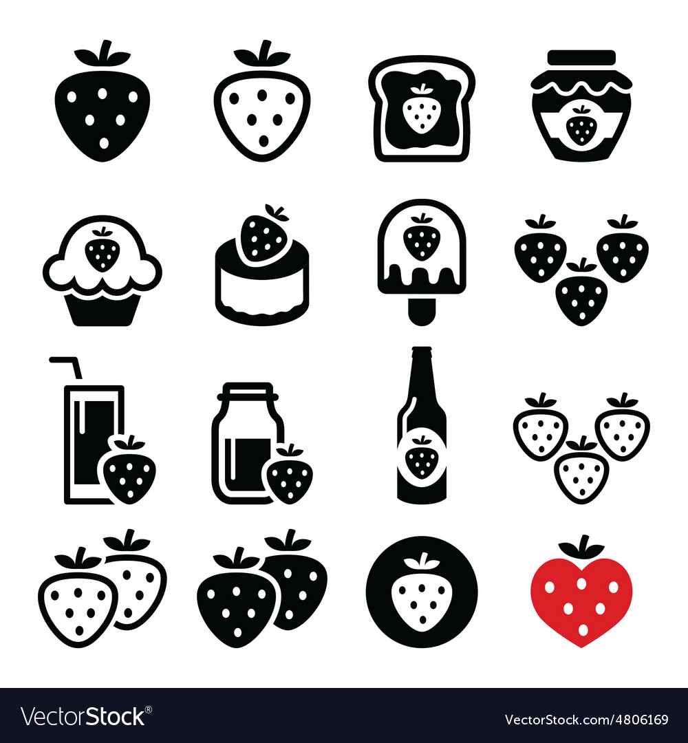 Strawberry meals  food and drinks icons set vector