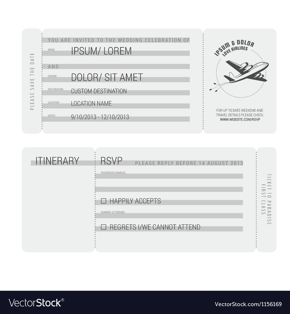 Vintage boarding pass stylized wedding invitation vector