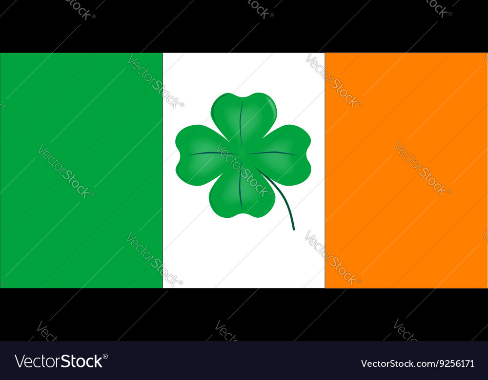 Irish flag with lucky shamrock vector