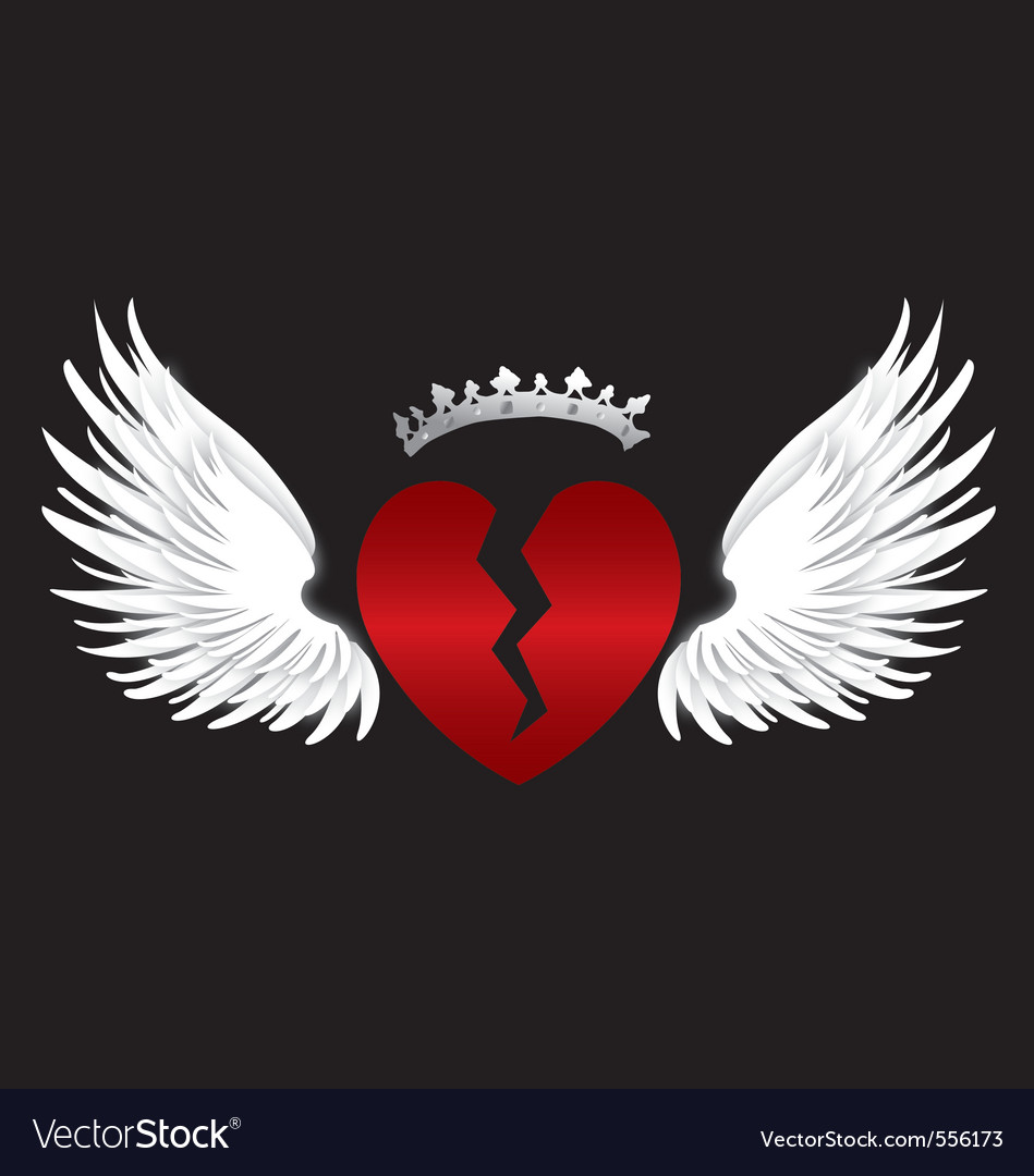 Broken heart wings vector