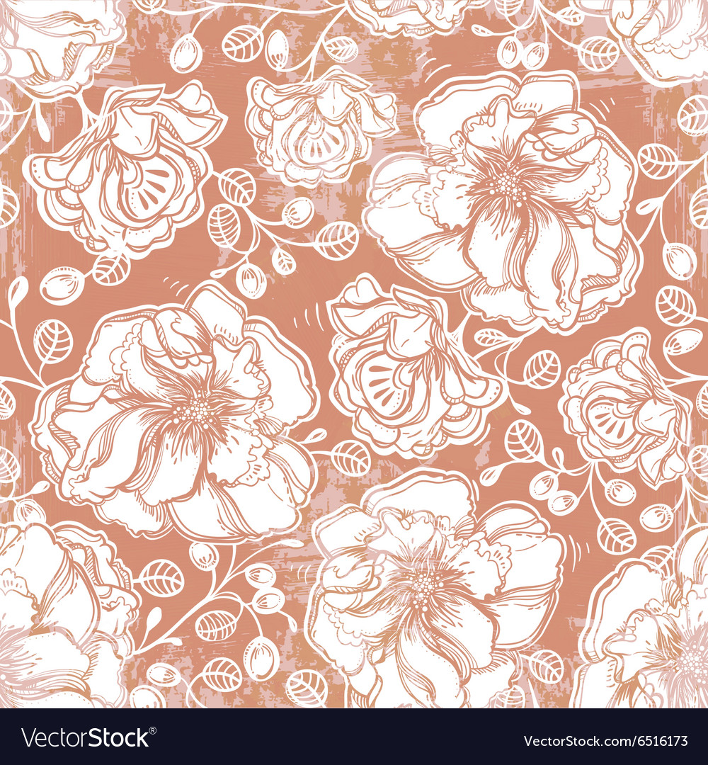 Floral pattern of flowers leaf summer berries vector