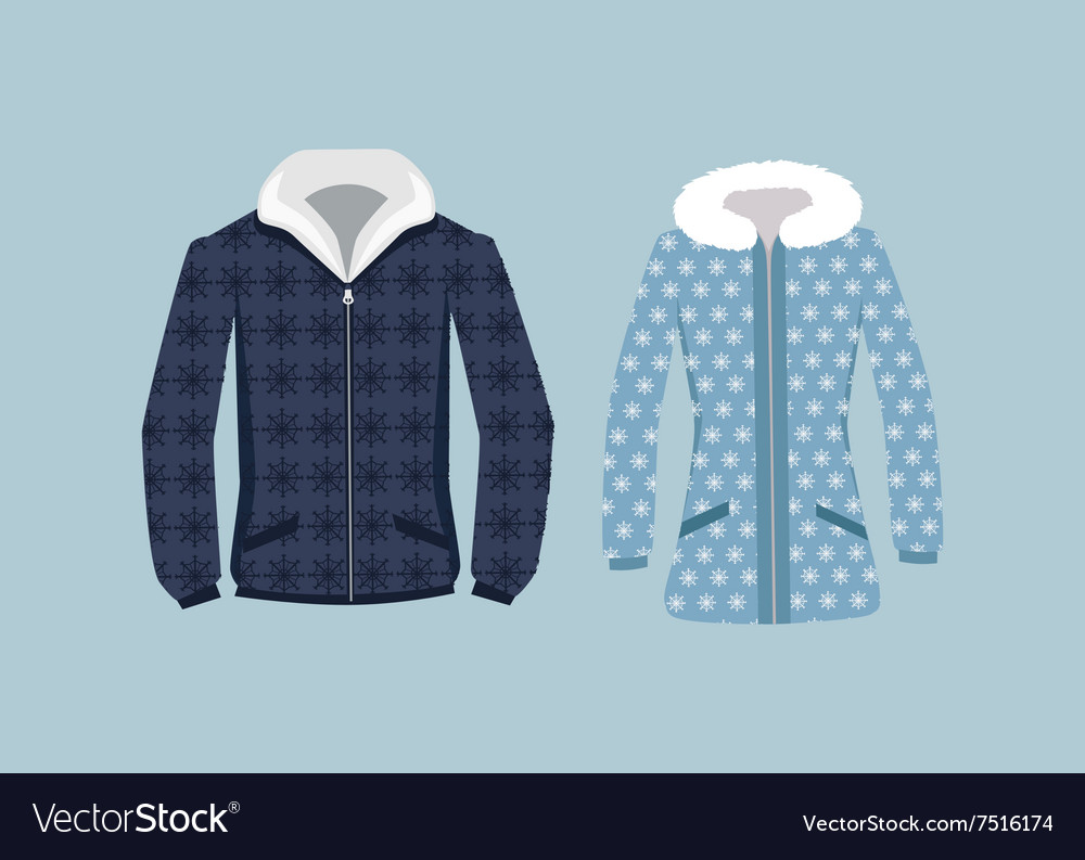 Male and woman winter jacket vector