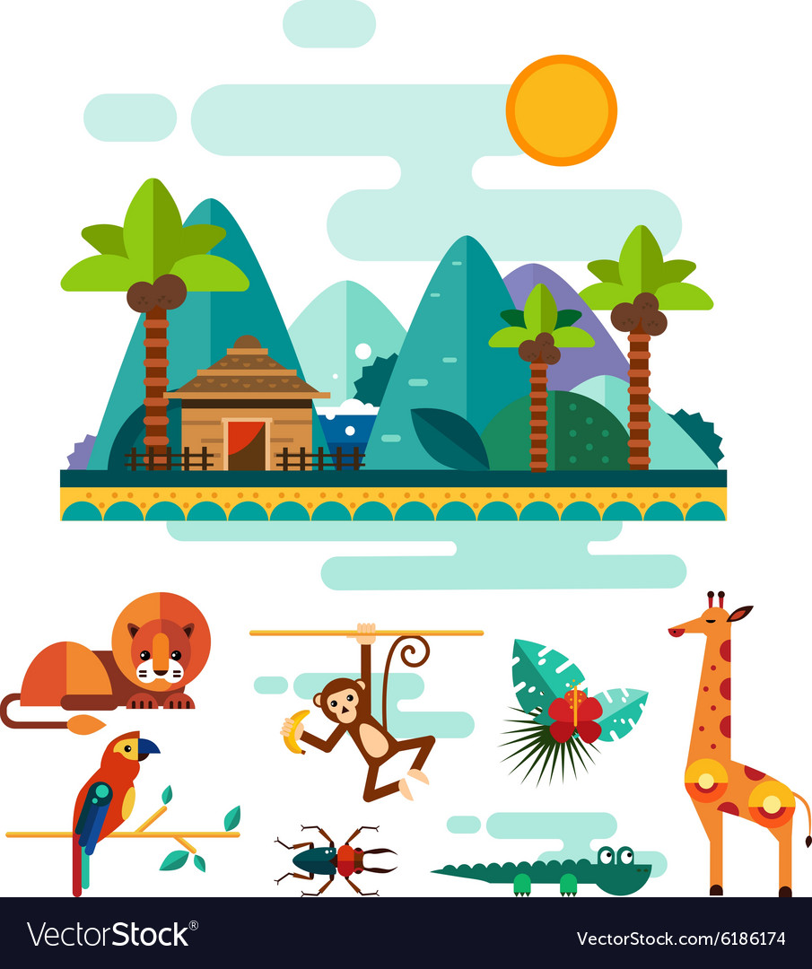 Tropic animals insects and birds on jungle vector