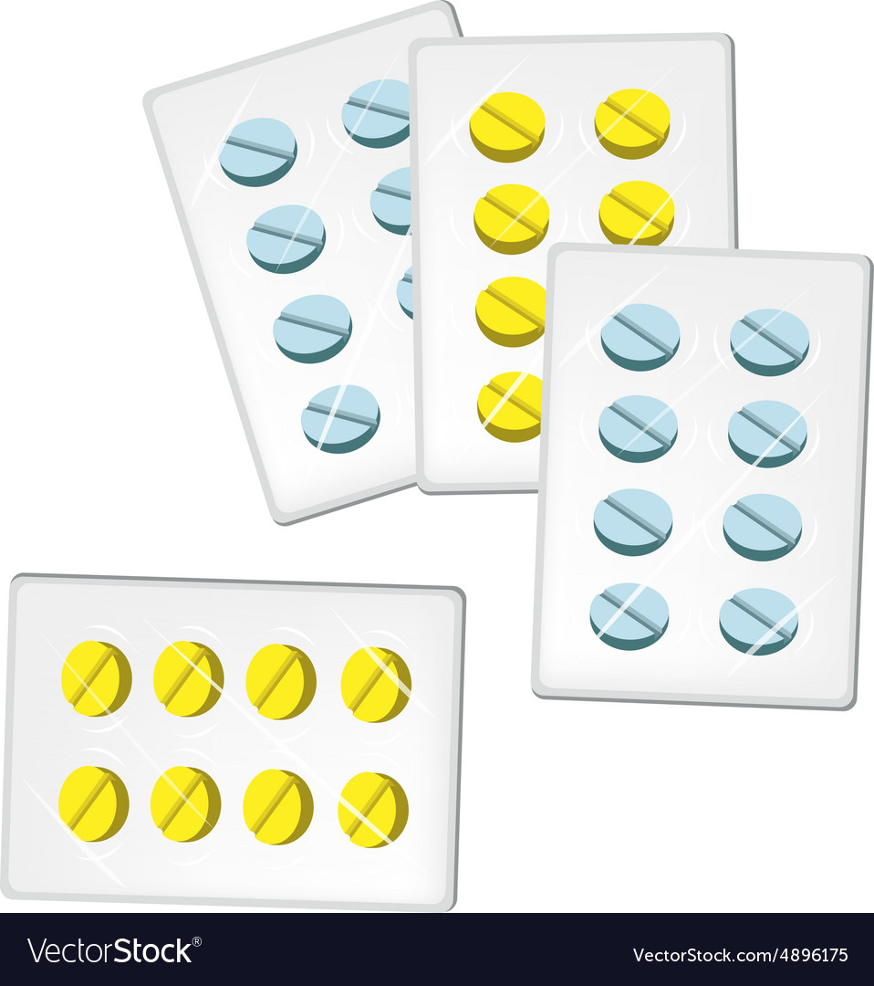 Medical pills in blister packs vector