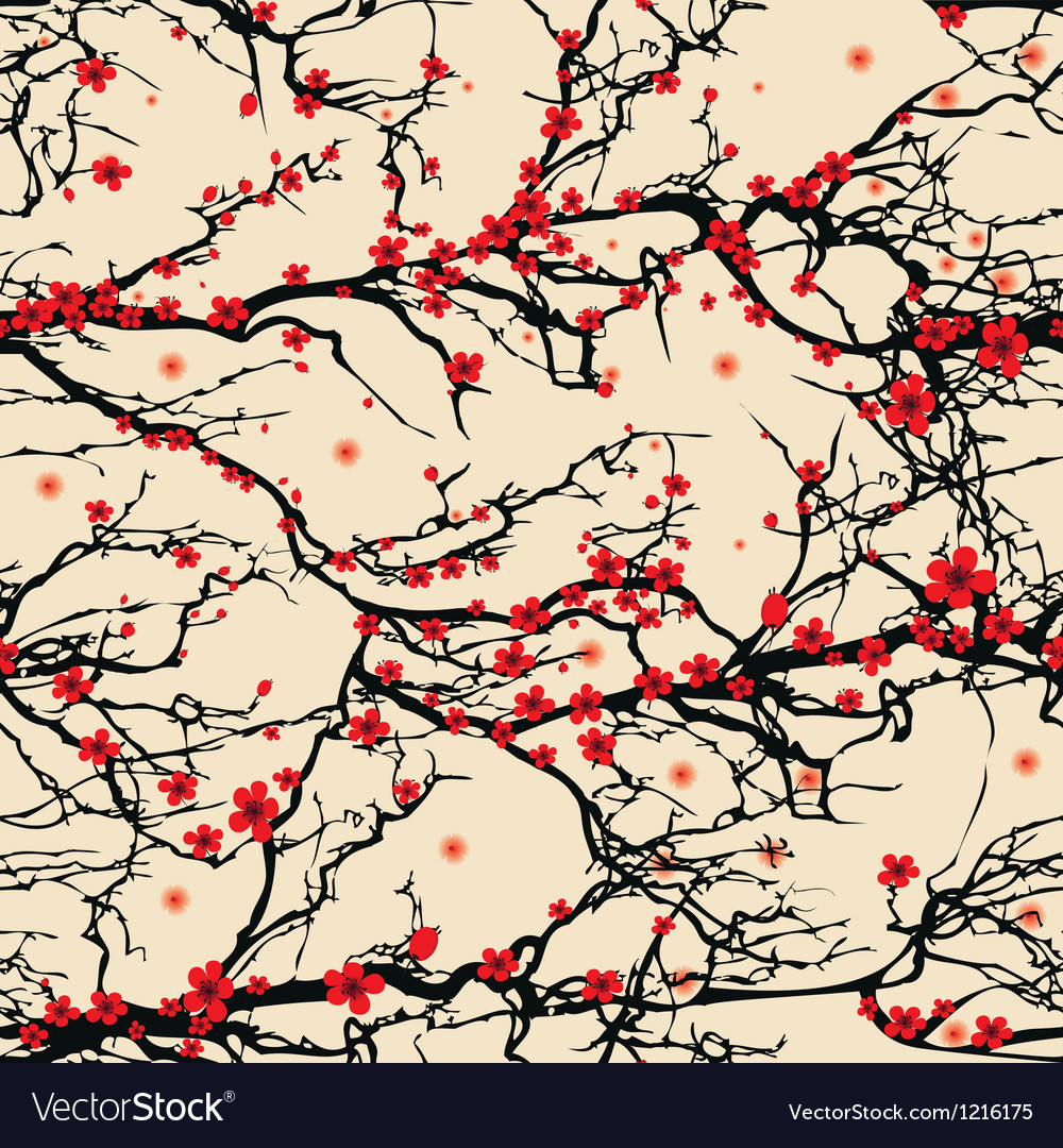Seamless background pattern tree japanese cherry vector