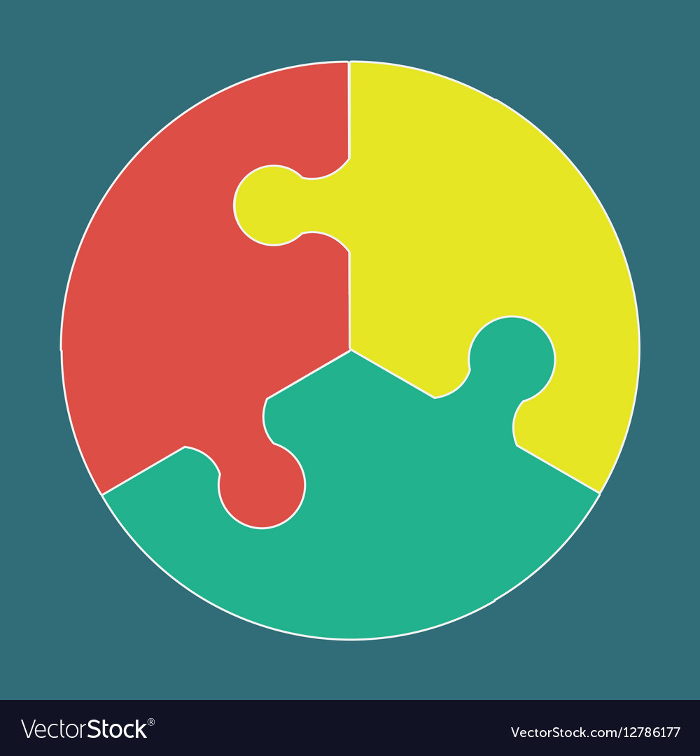 Circular colorful puzzle icon vector