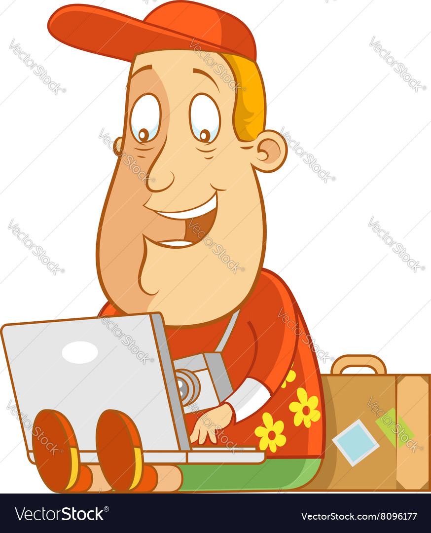 Tourist work anywhere laptop vector