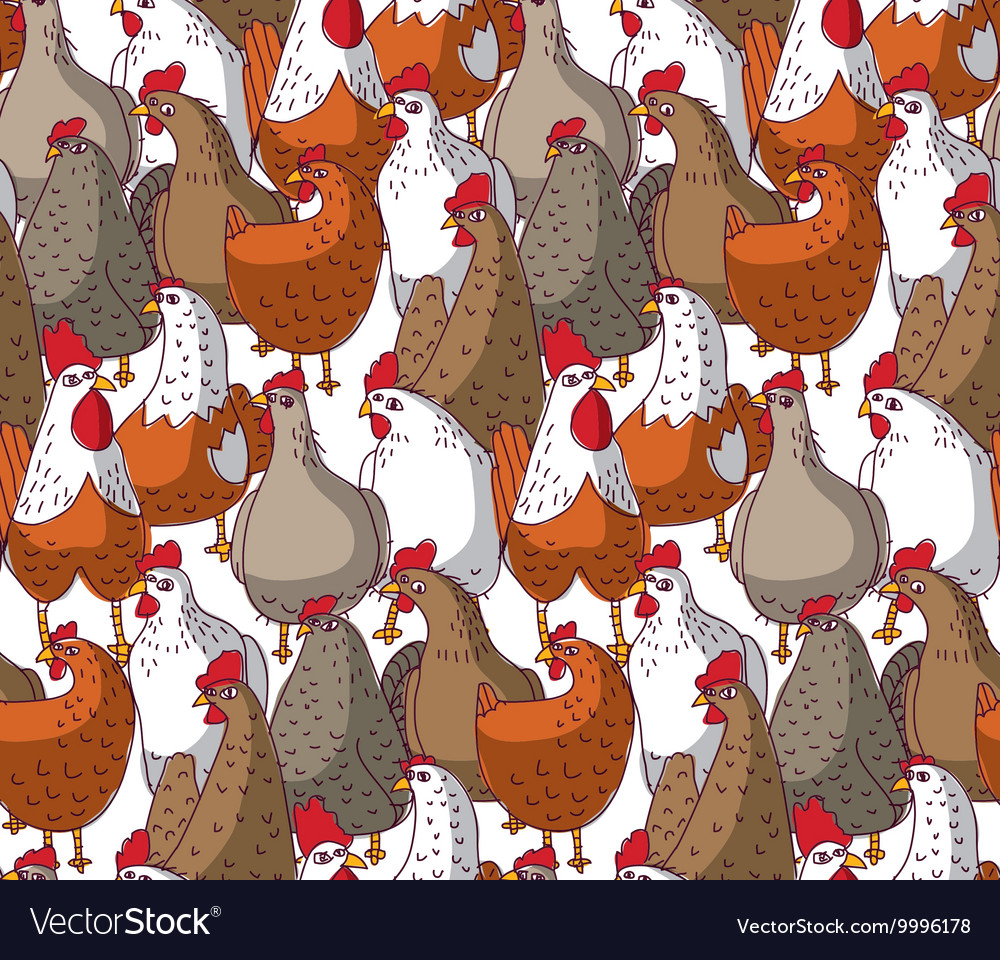 Birds chicken big group color seamless pattern vector