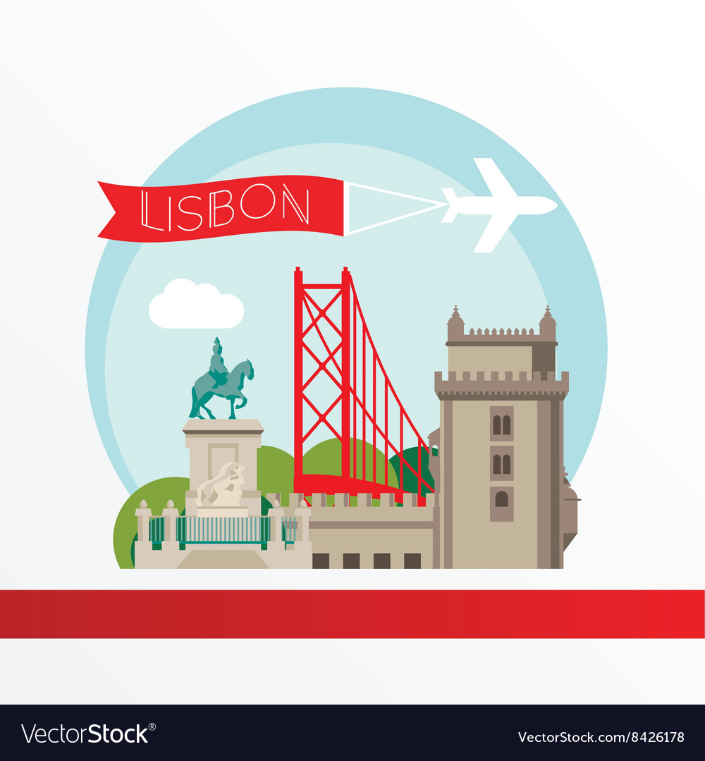 Lisbon detailed silhouette trendy vector