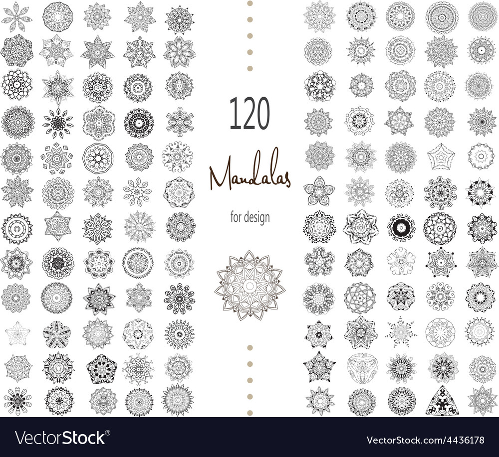 Mandala card set vector