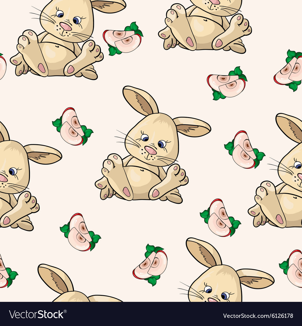Pattern with bunnies and apples vector