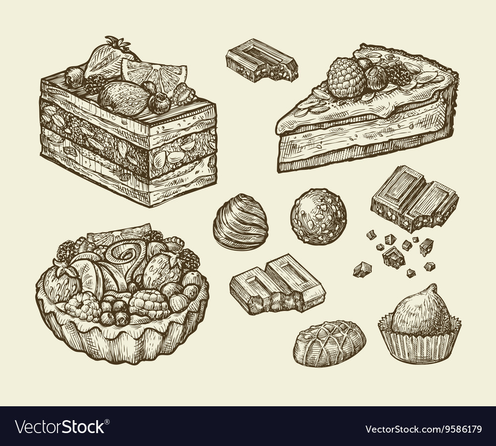 Dessert food hand drawn cake pastry chocolate vector