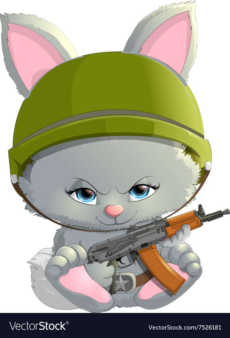 Beautiful bunny with a kalashnikov vector