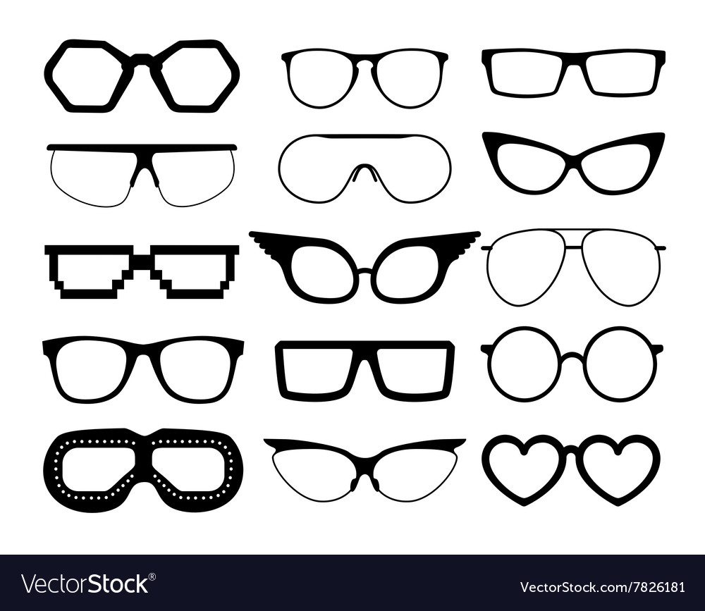 Set of glasses on white background vector