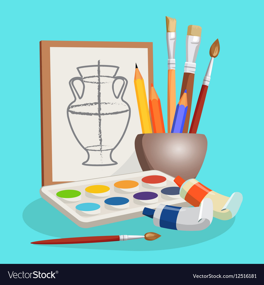 Unfinished picture of vase little bowl with vector