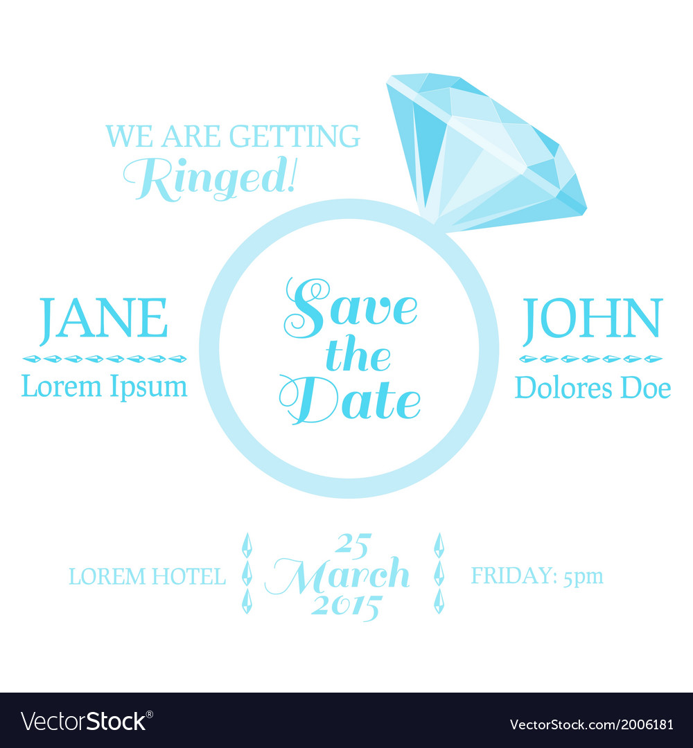 Wedding invitation card with diamond ring vector