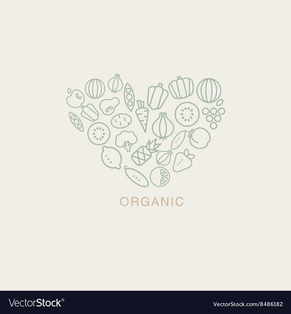 Heart shaped logo composed of fruits and vector