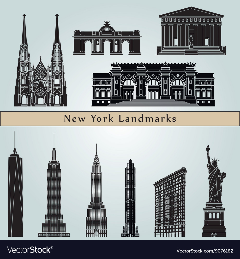 New york landmarks and monuments vector