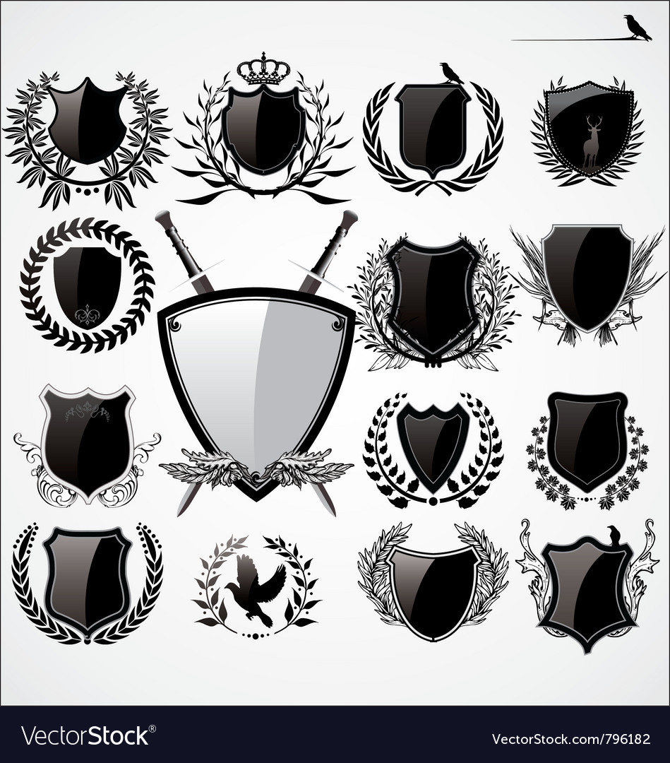 Shields and laurel wreath set vector