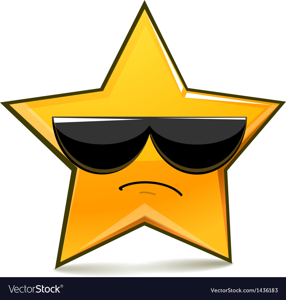 Serious funny star in sunglasses vector