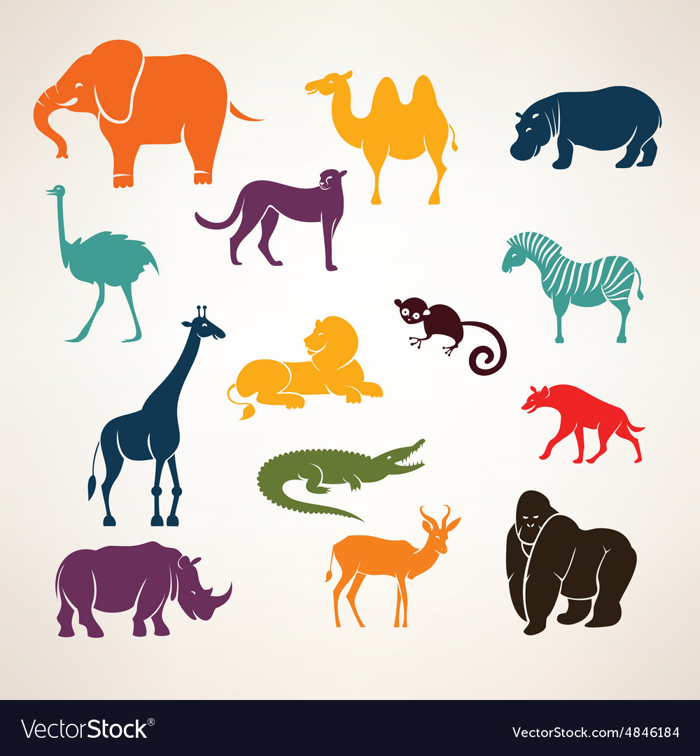African animals stylized silhouettes vector