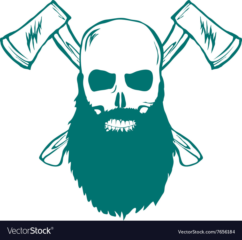 Skull with beard and crossed axes vector