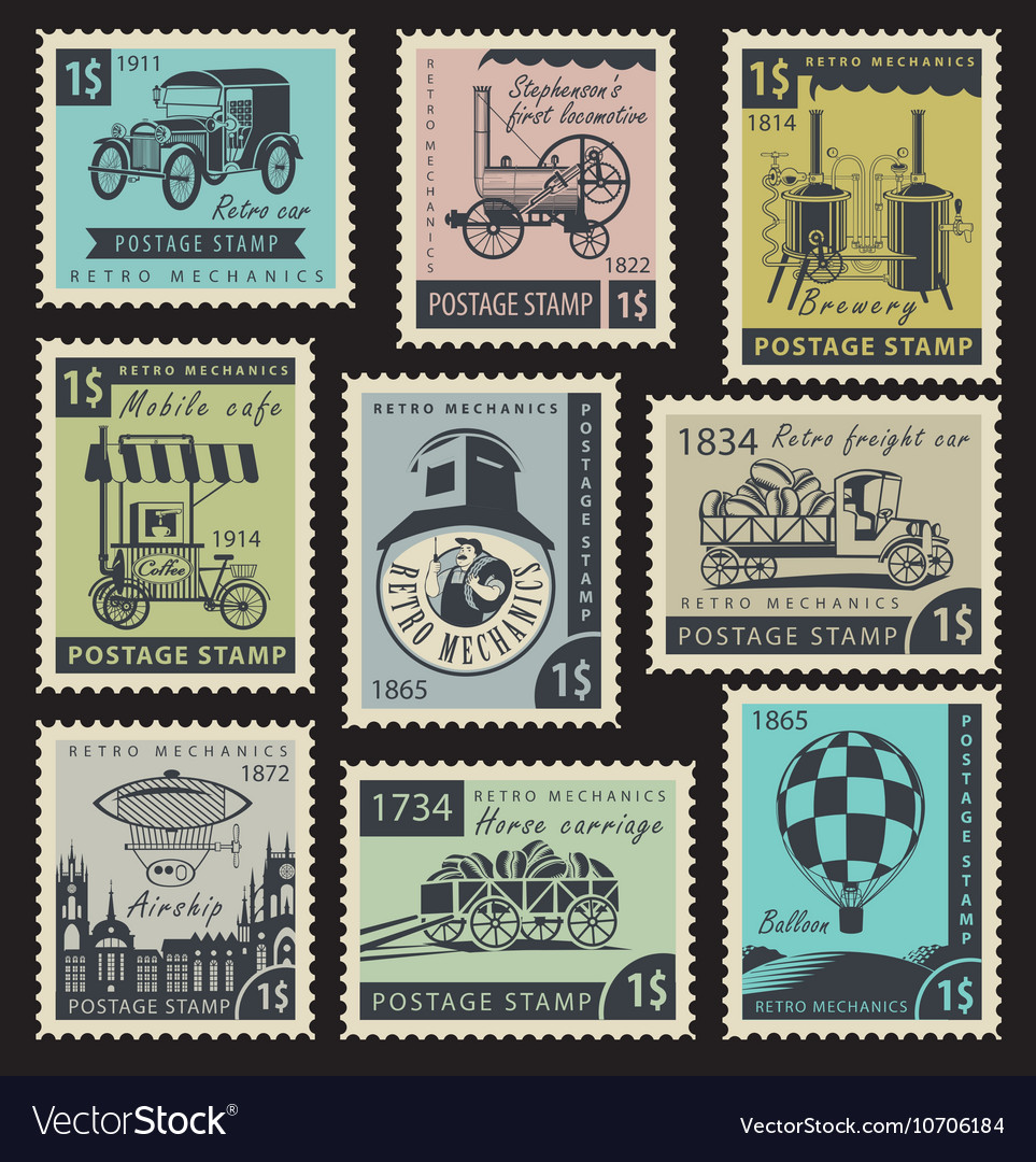 Stamps on the retro mechanics vector