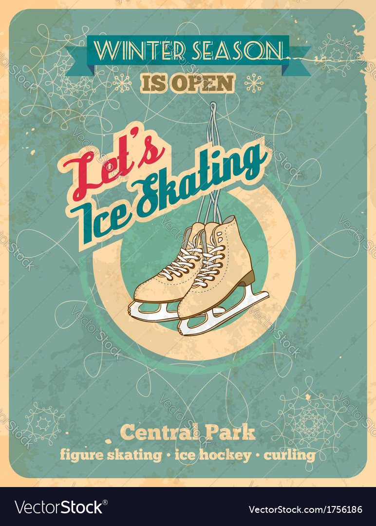 Ice skating retro poster vector