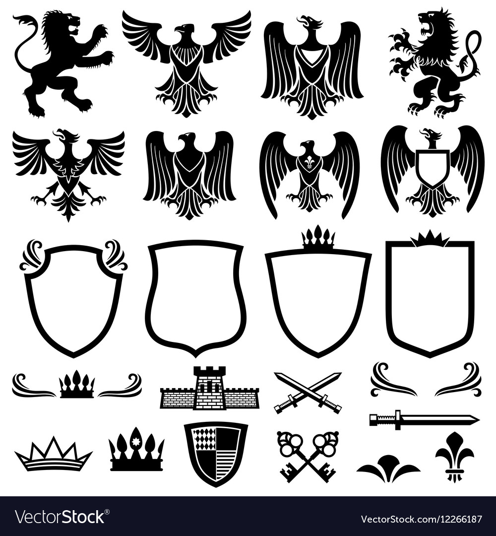 Family coat of arms elements for heraldic vector