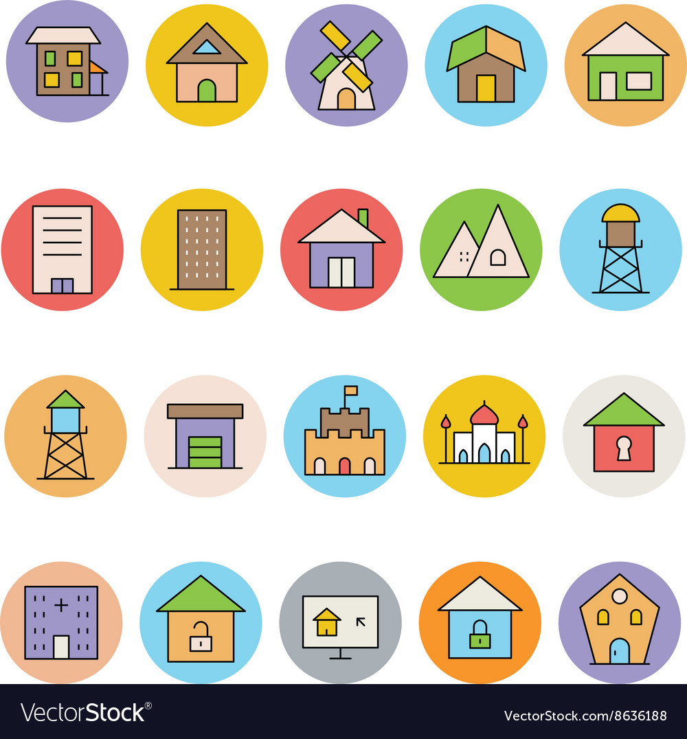 Architecture and buildings icons 7 vector